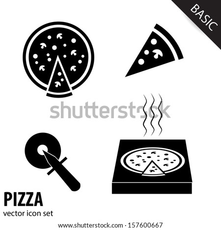 Collection of pizza icons isolated on white background. VECTOR illustration. - stock vector