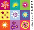 collection of pop art flowers vector illustration - stock vector