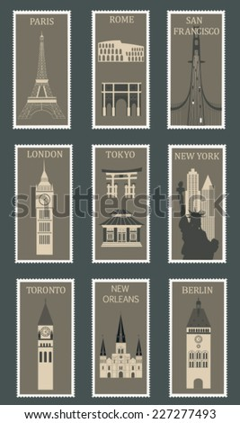 Collection of postage stamps with famous cities. Vector illustration - stock vector