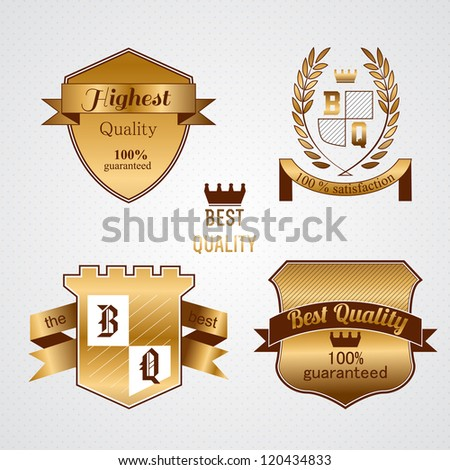 Collection of Premium Quality and Guarantee  Golden Labels with retro vintage styled design - stock vector