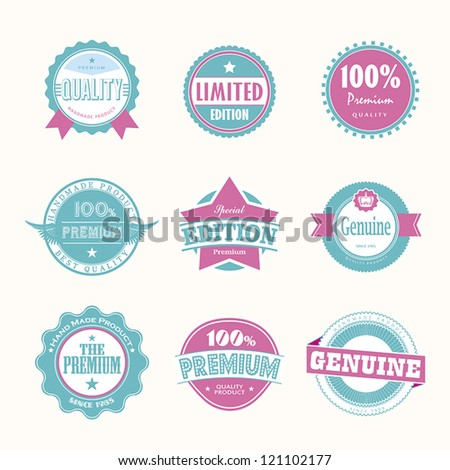 Collection of Premium Quality and Guarantee Labels retro vintage style design. 100% Premium Quality Guarantee vector sign set. - stock vector