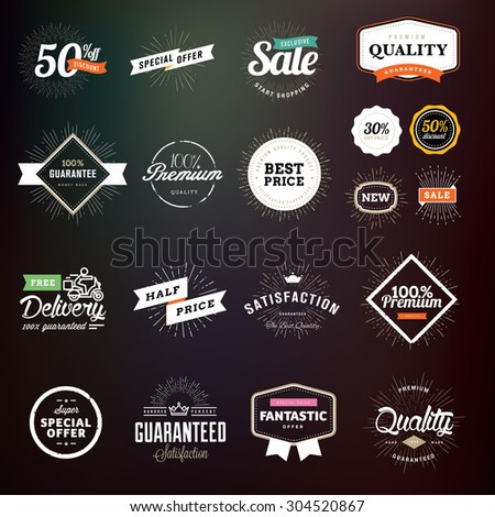 Collection of premium quality badges and labels for designers. Vector illustrations for e-commerce, product promotion, advertising, sell products, discounts, sale, clearance, the mark of quality.     - stock vector
