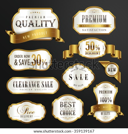 collection of premium quality golden labels design set  - stock vector