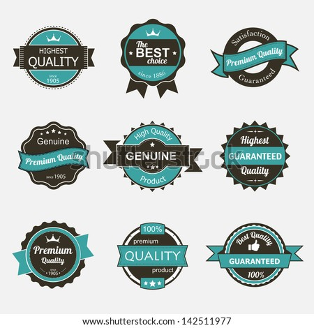 Collection of premium quality vintage labels eps8 - stock vector