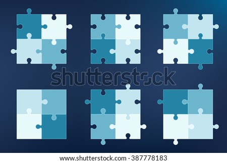 Collection of 6 puzzle pieces icons, each with four elements - stock vector
