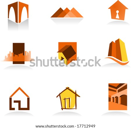 Collection of real estate icons - for more logos of this type CLICK ON MY NAME BELOW TO SEE MY GALLERY - stock vector