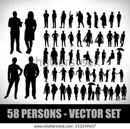 collection of 58 realistic illustrations of people; businessmen and students and other - stock vector