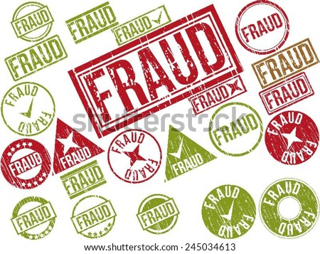 """Collection of 22 red and green grunge rubber stamps with text """"FRAUD"""" . Vector illustration - stock vector"""