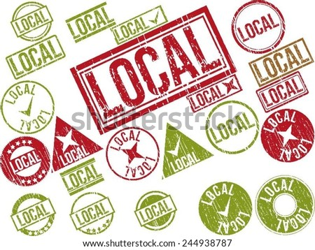 """Collection of 22 red and green grunge rubber stamps with text """"LOCAL"""" . Vector illustration - stock vector"""