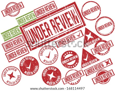 "Collection of 21 red and green grunge rubber stamps with text ""UNDER REVIEW"" . Vector illustration - stock vector"