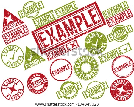 """Collection of 22 red and green grunge rubber stamps with text """""""" . Vector illustration. - stock vector"""