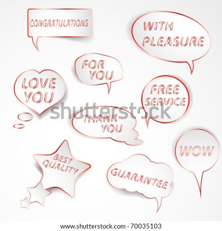 Collection of  red and white speech bubbles with slogans. Easy to edit vector illustration. - stock vector