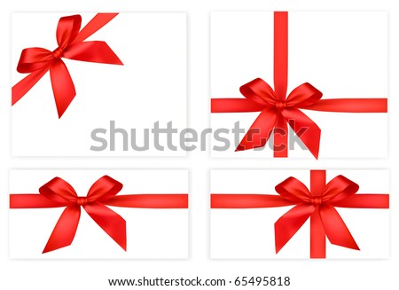 Collection of red bows with ribbons. Vector. - stock vector