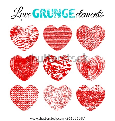 Collection of 9 red brutal grunge background textures of sand, canvas, foil, wood and stone in the form of hearts - stock vector