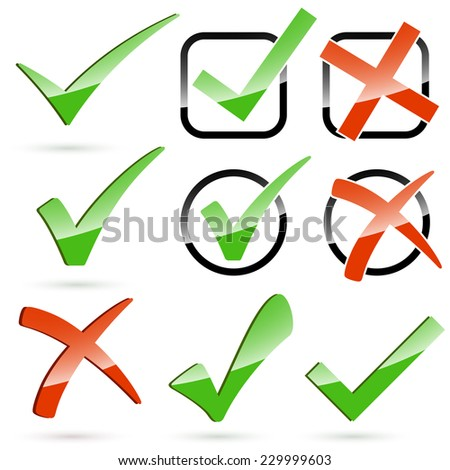 Collection of red cross and green hook - stock vector