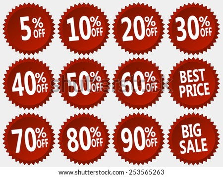 collection of red discount stickers, vector illustration well layered you can make any digit - stock vector