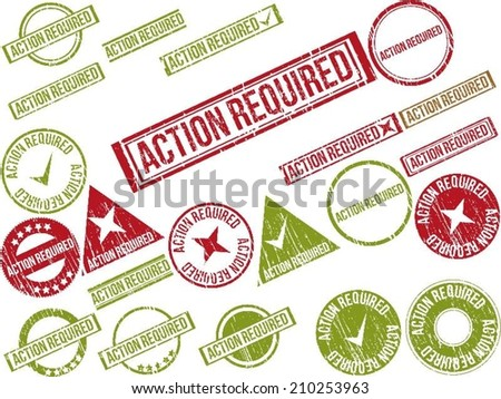 """Collection of 22 red grunge rubber stamps with text """"ACTION REQUIRED ..."""