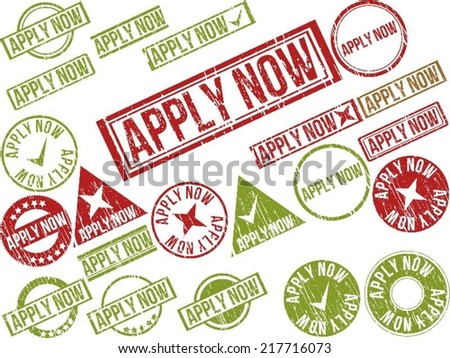 """Collection of 22 red grunge rubber stamps with text """"APPLY NOW"""" . Vector illustration - stock vector"""