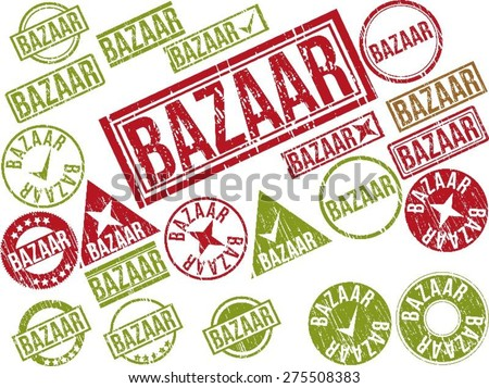 "Collection of 22 red grunge rubber stamps with text ""BAZAAR"" . Vector illustration - stock vector"