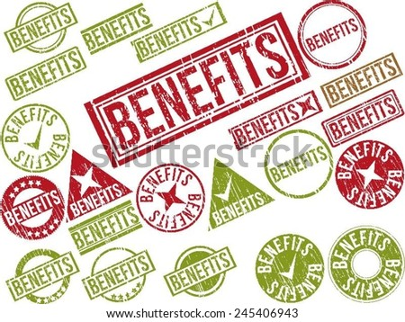 "Collection of 22 red grunge rubber stamps with text ""BENEFITS"" . Vector illustration - stock vector"