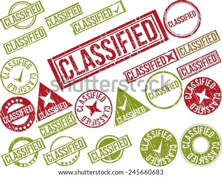 "Collection of 22 red grunge rubber stamps with text ""CLASSIFIED"" . Vector illustration - stock vector"