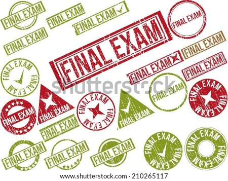"""Collection of 22 red grunge rubber stamps with text """"FINAL EXAM"""" . Vector illustration - stock vector"""