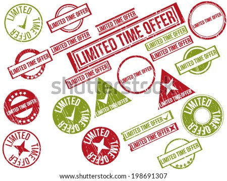 """Collection of 22 red grunge rubber stamps with text """"LIMITED TIME OFFER"""" . Vector illustration - stock vector"""