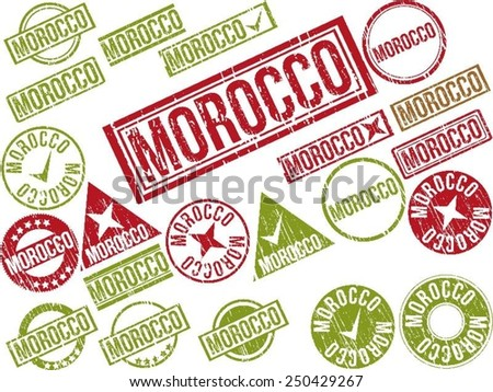 """Collection of 22 red grunge rubber stamps with text """"MOROCCO"""". Vector illustration - stock vector"""