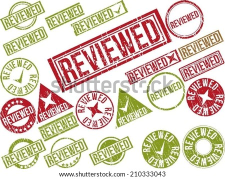 "Collection of 22 red grunge rubber stamps with text ""REVIEWED"" . Vector illustration - stock vector"