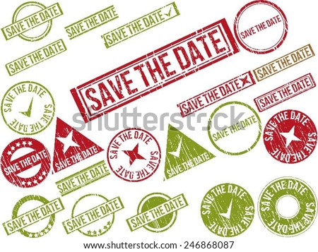 """Collection of 22 red grunge rubber stamps with text """"SAVE THE DATE"""" . Vector illustration - stock vector"""