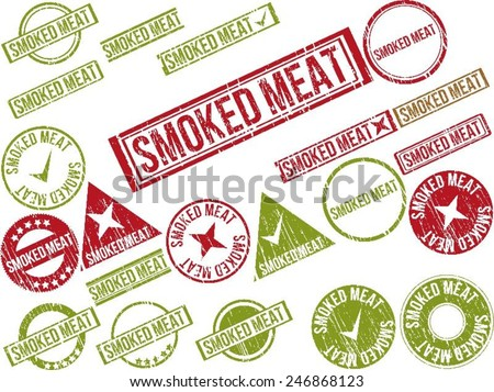 """Collection of 22 red grunge rubber stamps with text """"SMOKED MEAT"""" . Vector illustration - stock vector"""