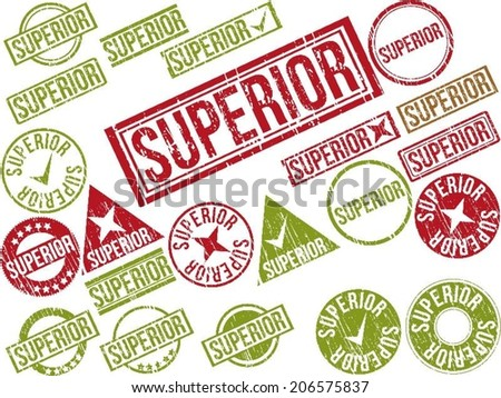 "Collection of 22 red grunge rubber stamps with text ""SUPERIOR"" . Vector illustration - stock vector"