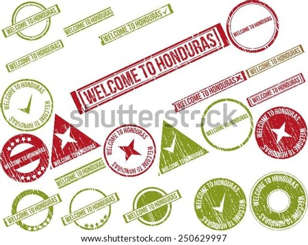 """Collection of 22 red grunge rubber stamps with text """"WELCOME TO HONDURAS"""". Vector illustration - stock vector"""