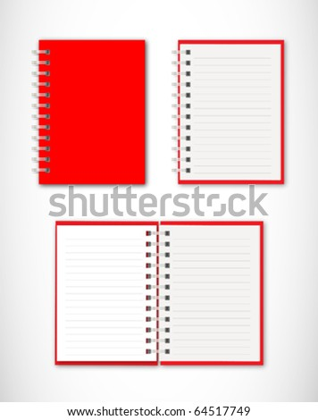 Collection of red notebook - stock vector