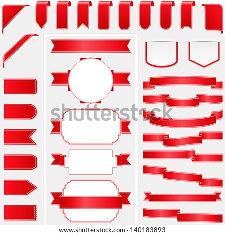 Collection of red ribbons, vector eps10 illustration - stock vector