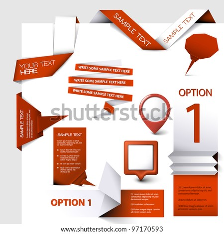 Collection of red Vector web elements - stock vector
