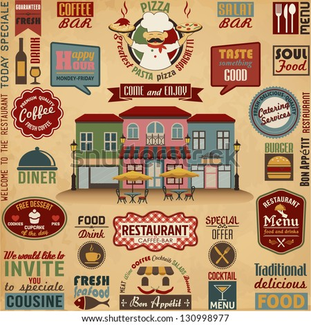 Collection of Restaurant  Design Elements.Vector Illustration - stock vector