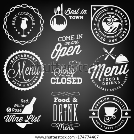 Collection of Restaurant Menu Design Elements in Vintage Style - stock vector