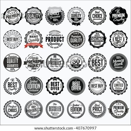Collection of Retail Black Badges on a White Background - stock vector
