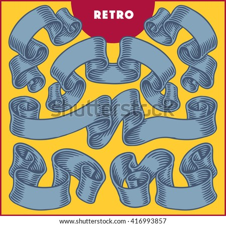 Collection of retro blue ribbon banners. - stock vector