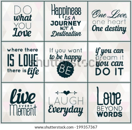 Collection Of Retro Calligraphic Motivational Quotes in Vintage Style - stock vector