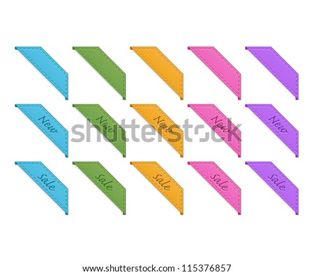 Collection of retro corner ribbons - stock vector