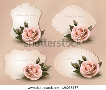 Collection of retro greeting cards with pink rose. Vector illustration. - stock vector