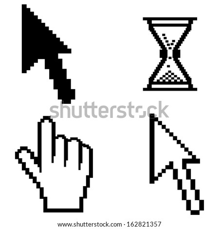 Collection of retro looking system shapes and icons made of pixels. VECTOR illustration. - stock vector
