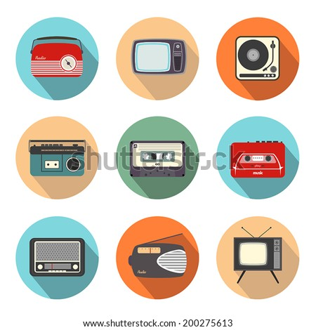 Collection of retro radio and TV icons in flat design style - stock vector