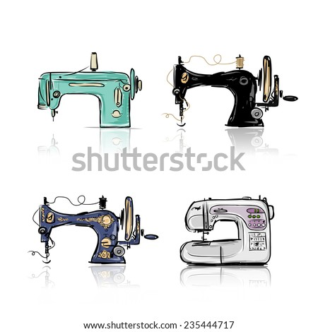 Collection of retro sewing machine, sketch for your design. Vector illustration - stock vector