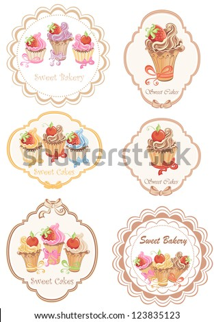 Collection of retro various cupcakes labels - stock vector