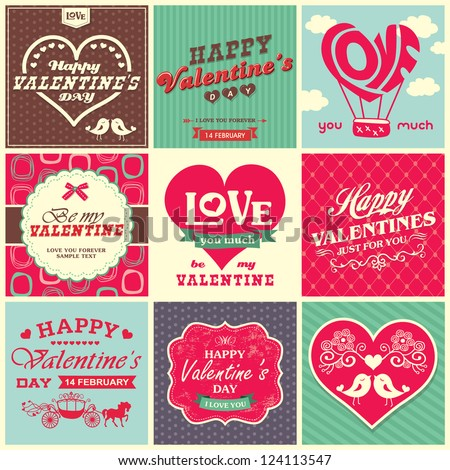 Collection of retro vintage styled valentine�s day design elements with typography and calligraphy - stock vector
