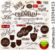 Collection of ribbons, labels premium, best and original quality in retro style - stock vector
