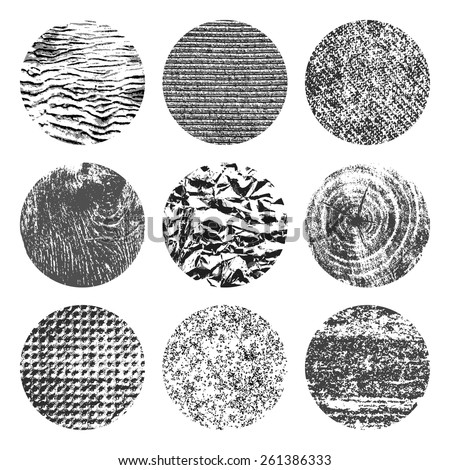 Collection of 9 round black and white brutal grunge background textures of sand, canvas, foil, wood and stone - stock vector